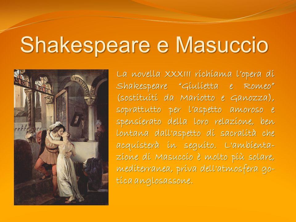 Shakespeare e Masuccio La novella XXXIII richiama lopera di Shakespeare Giulietta e Romeo (sostituiti da Mariotto e Ganozza), soprattutto per laspetto