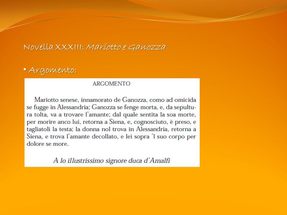 Novella XXXIII: Mariotto e Ganozza Argomento: Argomento: