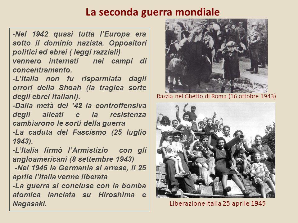La seconda guerra mondiale Razzia nel Ghetto di Roma (16 ottobre 1943) Liberazione Italia 25 aprile 1945 -Nel 1942 quasi tutta lEuropa era sotto il dominio nazista.