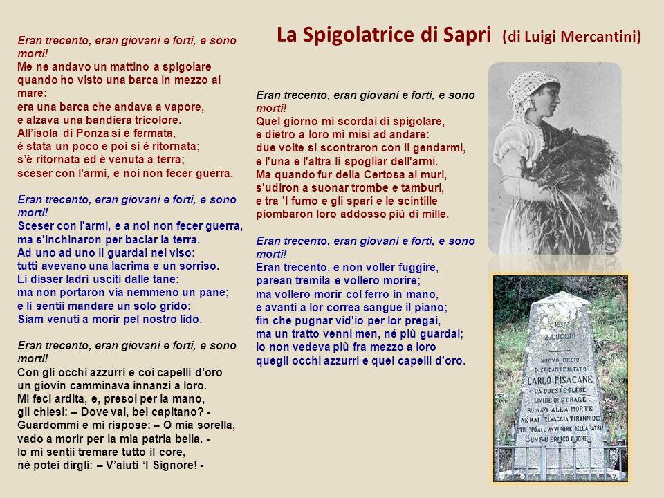 La Spigolatrice di Sapri (di Luigi Mercantini) Eran trecento, eran giovani e forti, e sono morti! Me ne andavo un mattino a spigolare quando ho visto
