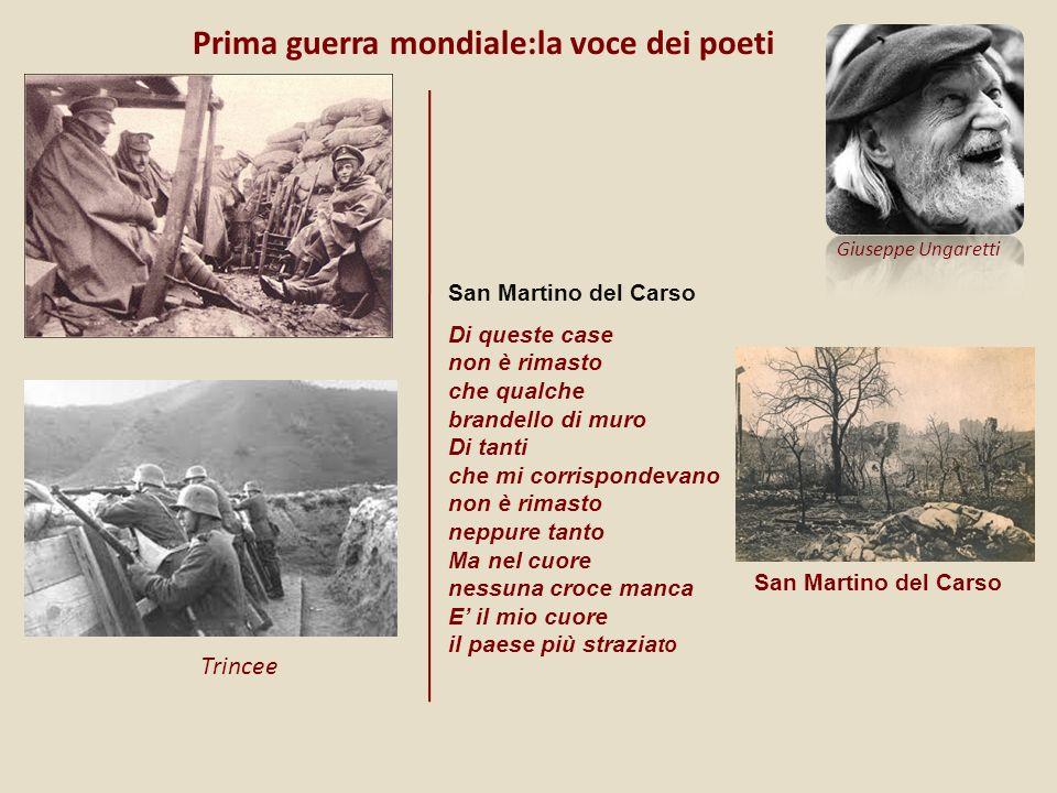 Prima guerra mondiale:la voce dei poeti Trincee Di queste case non è rimasto che qualche brandello di muro Di tanti che mi corrispondevano non è rimas