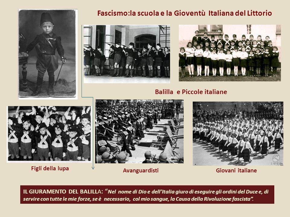 Fascismo:la scuola e la Gioventù Italiana del Littorio Balilla e Piccole italiane Figli della lupa AvanguardistiGiovani italiane IL GIURAMENTO DEL BAL