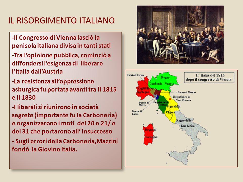 IL RISORGIMENTO ITALIANO -Il Congresso di Vienna lasciò la penisola italiana divisa in tanti stati -Tra lopinione pubblica, cominciò a diffondersi lesigenza di liberare lItalia dallAustria -La resistenza alloppressione asburgica fu portata avanti tra il 1815 e il 1830 -I liberali si riunirono in società segrete (importante fu la Carboneria) e organizzarono i moti del 20 e 21/ e del 31 che portarono all insuccesso - Sugli errori della Carboneria,Mazzini fondò la Giovine Italia.
