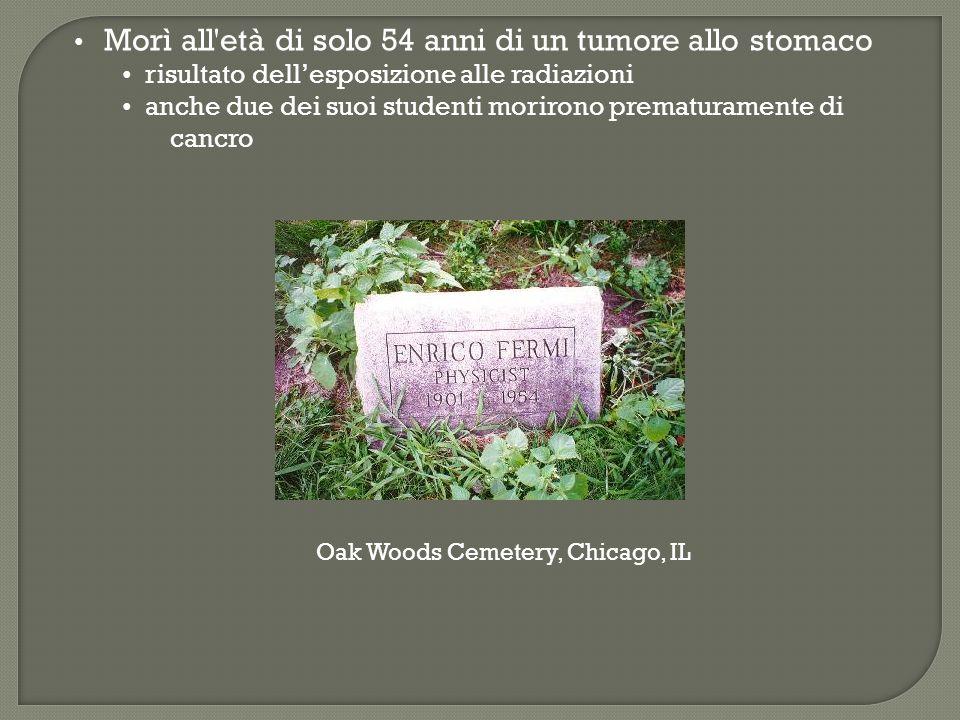 Morì all'età di solo 54 anni di un tumore allo stomaco risultato dellesposizione alle radiazioni anche due dei suoi studenti morirono prematuramente d