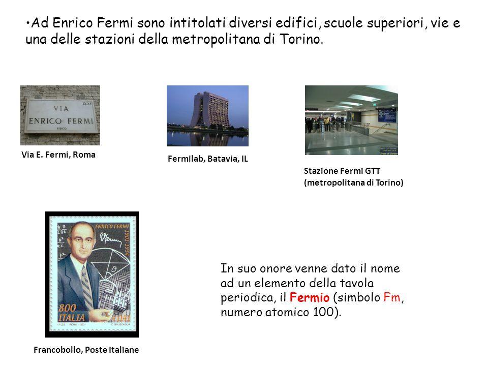 Stazione Fermi GTT (metropolitana di Torino) Via E. Fermi, Roma Ad Enrico Fermi sono intitolati diversi edifici, scuole superiori, vie e una delle sta