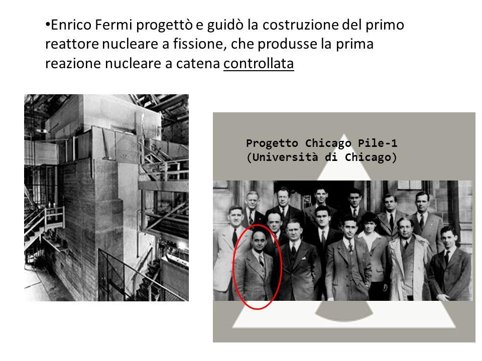 Enrico Fermi progettò e guidò la costruzione del primo reattore nucleare a fissione, che produsse la prima reazione nucleare a catena controllata Prog