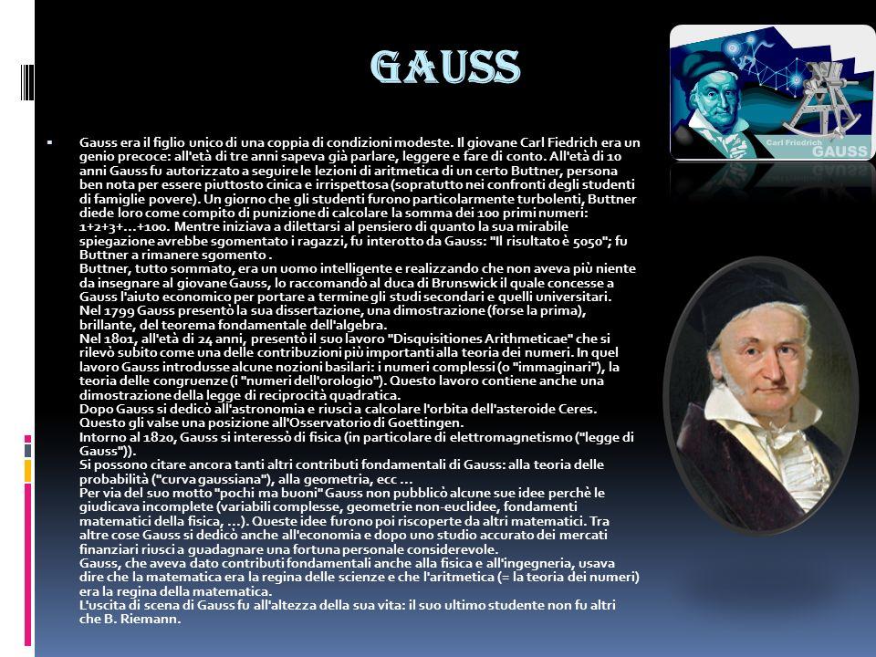 Gauss Gauss era il figlio unico di una coppia di condizioni modeste. Il giovane Carl Fiedrich era un genio precoce: all'età di tre anni sapeva già par