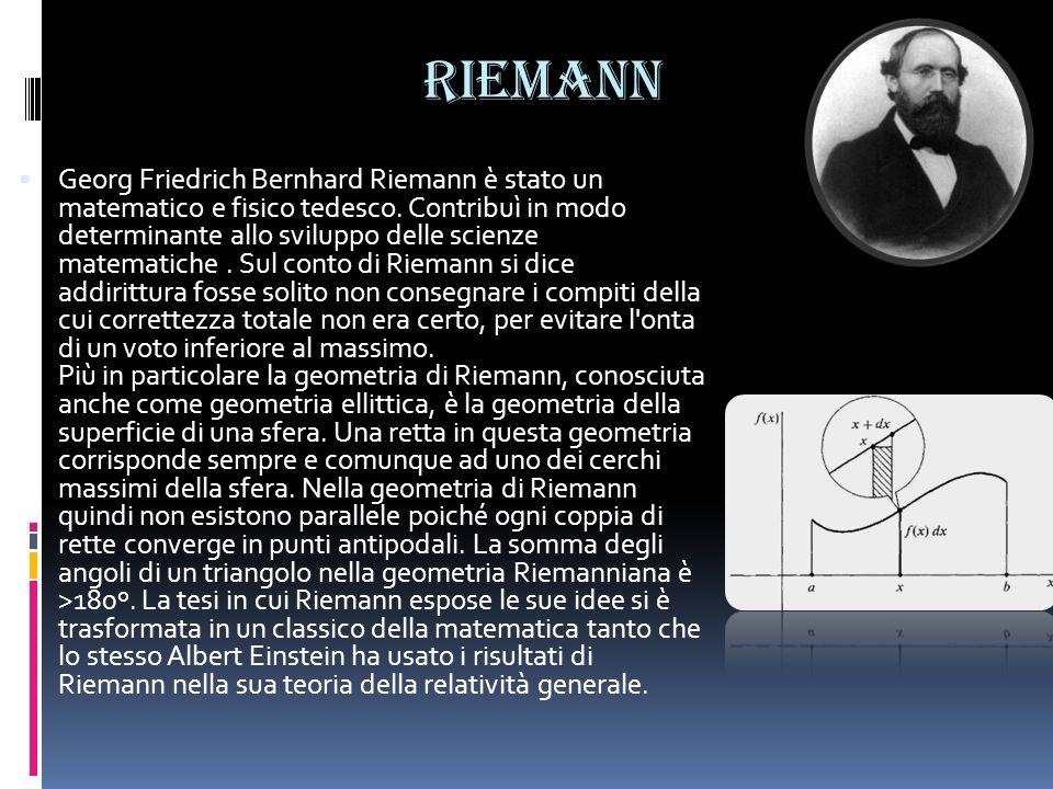 Riemann Georg Friedrich Bernhard Riemann è stato un matematico e fisico tedesco. Contribuì in modo determinante allo sviluppo delle scienze matematich
