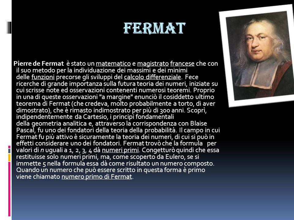 Fermat Pierre de Fermat è stato un matematico e magistrato francese che con il suo metodo per la individuazione dei massimi e dei minimi delle funzion