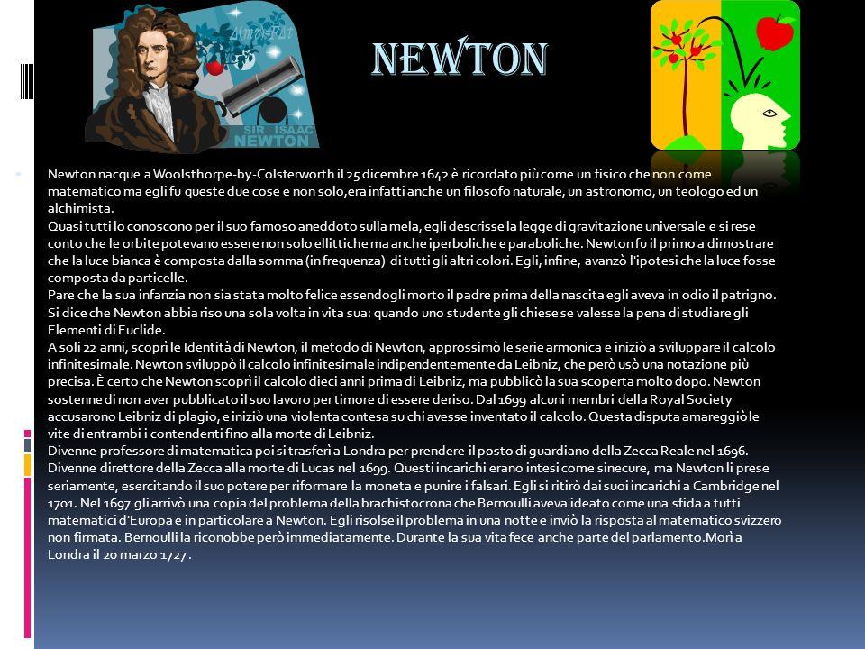 Newton Newton nacque a Woolsthorpe-by-Colsterworth il 25 dicembre 1642 è ricordato più come un fisico che non come matematico ma egli fu queste due co