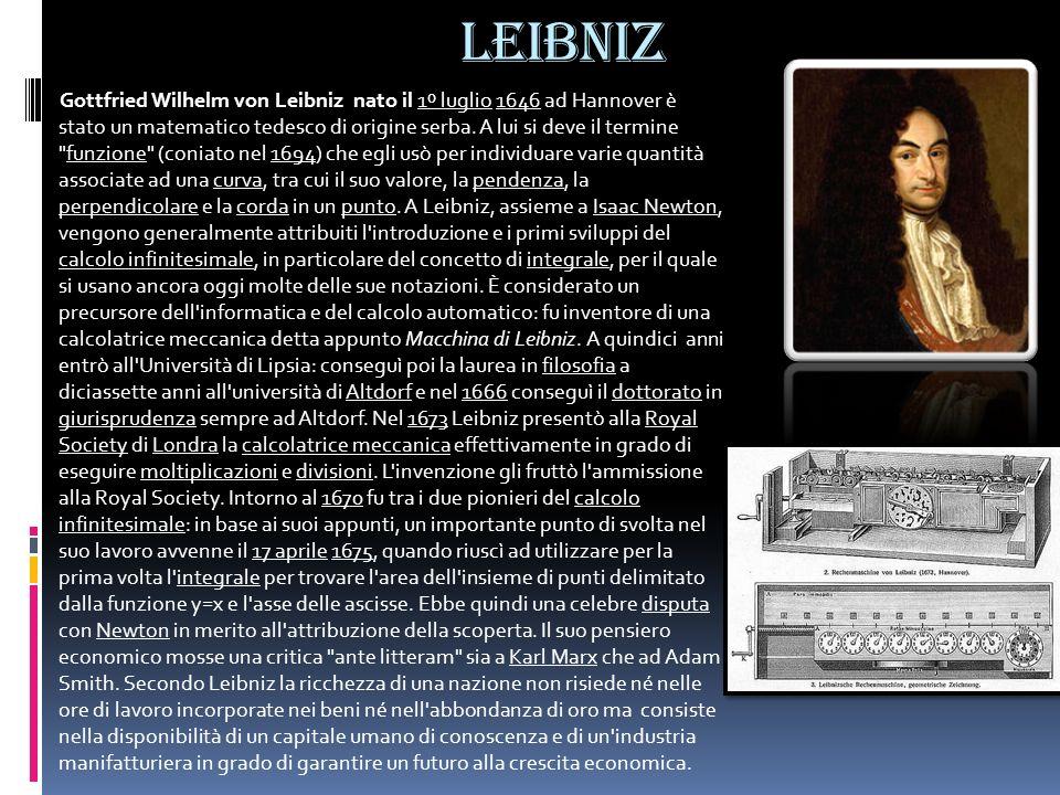 LEIBNIZ Gottfried Wilhelm von Leibniz nato il 1º luglio 1646 ad Hannover è stato un matematico tedesco di origine serba. A lui si deve il termine