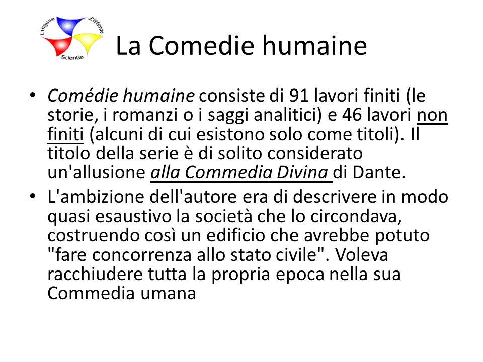 La Comedie humaine Comédie humaine consiste di 91 lavori finiti (le storie, i romanzi o i saggi analitici) e 46 lavori non finiti (alcuni di cui esist