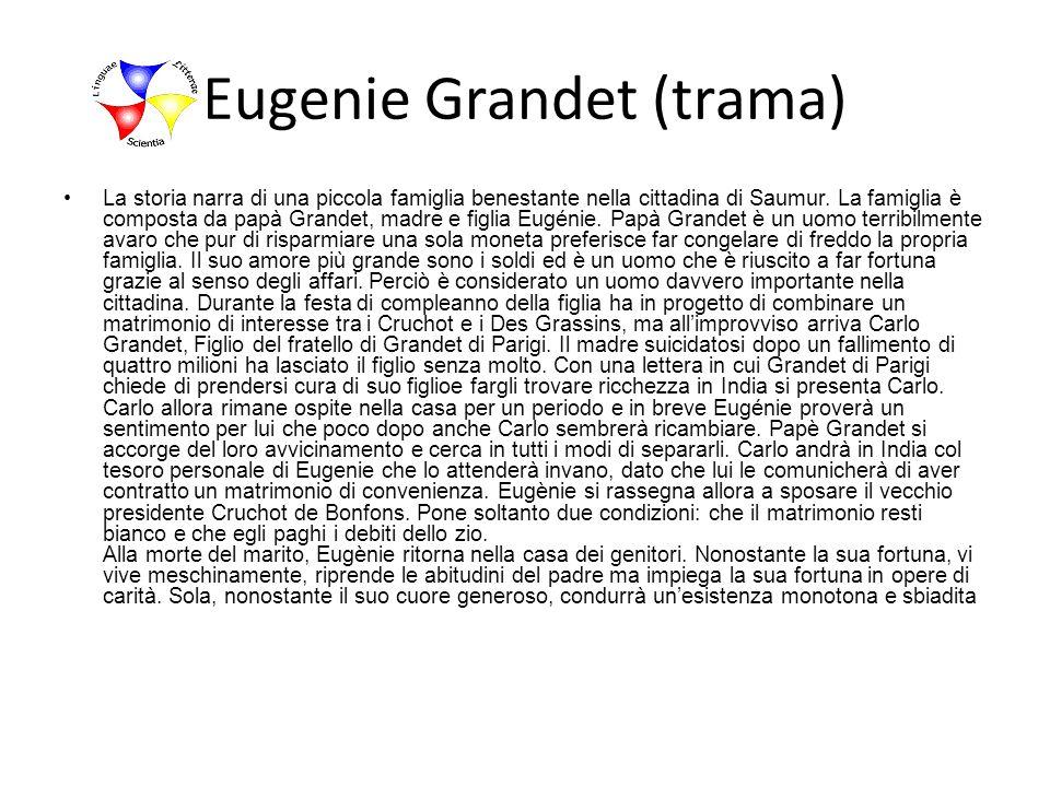 Eugenie Grandet (trama) La storia narra di una piccola famiglia benestante nella cittadina di Saumur. La famiglia è composta da papà Grandet, madre e