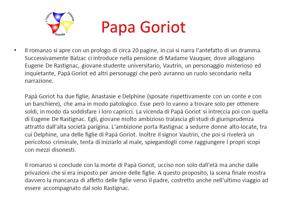 Papa Goriot Il romanzo si apre con un prologo di circa 20 pagine, in cui si narra l'antefatto di un dramma. Successivamente Balzac ci introduce nella