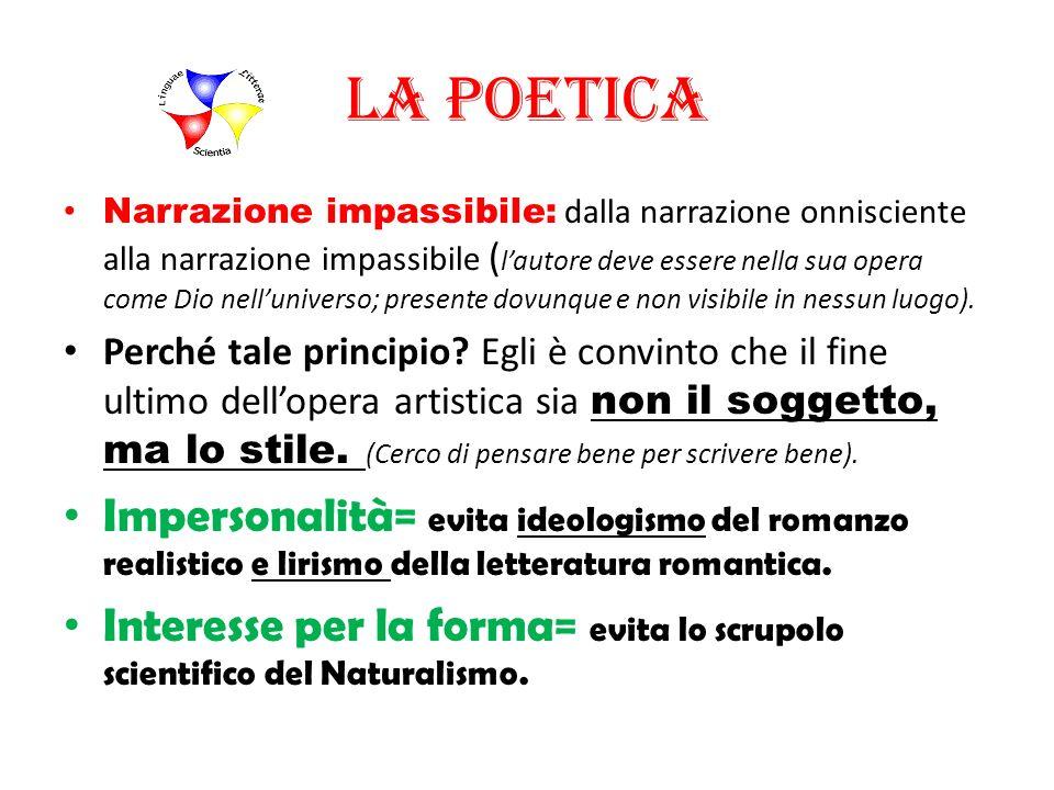 La poetica Narrazione impassibile: dalla narrazione onnisciente alla narrazione impassibile ( lautore deve essere nella sua opera come Dio nellunivers