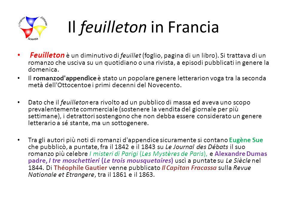 Il feuilleton in Francia Feuilleton è un diminutivo di feuillet (foglio, pagina di un libro). Si trattava di un romanzo che usciva su un quotidiano o