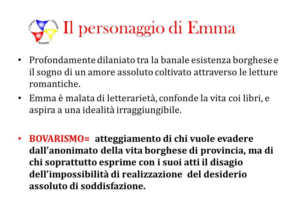 Il personaggio di Emma Profondamente dilaniato tra la banale esistenza borghese e il sogno di un amore assoluto coltivato attraverso le letture romant
