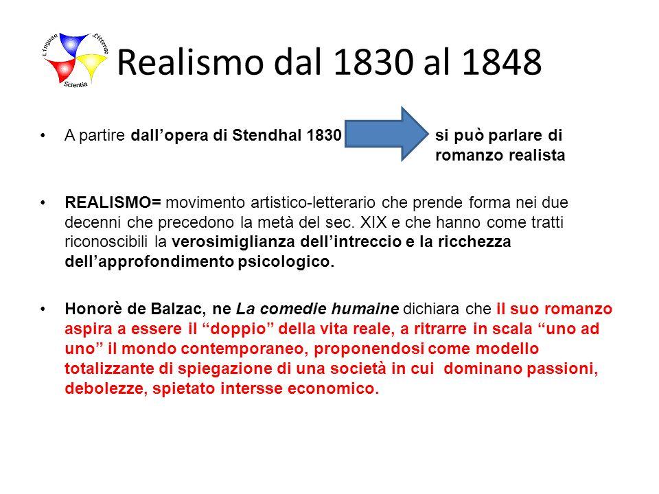 Realismo dal 1830 al 1848 A partire dallopera di Stendhal 1830si può parlare di romanzo realista REALISMO= movimento artistico-letterario che prende f