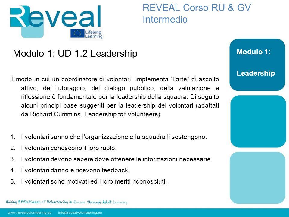 Modulo 1: UD 1.2 Leadership Il modo in cui un coordinatore di volontari implementa larte di ascolto attivo, del tutoraggio, del dialogo pubblico, della valutazione e riflessione è fondamentale per la leadership della squadra.