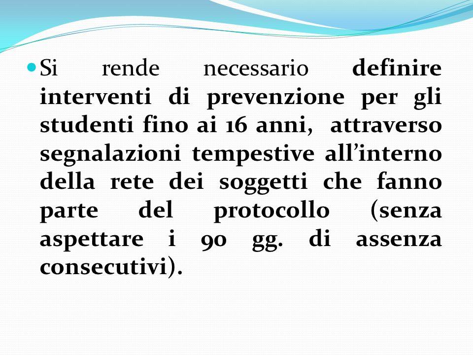 Si rende necessario definire interventi di prevenzione per gli studenti fino ai 16 anni, attraverso segnalazioni tempestive allinterno della rete dei soggetti che fanno parte del protocollo (senza aspettare i 90 gg.