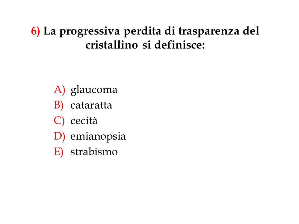 6) La progressiva perdita di trasparenza del cristallino si definisce: A)glaucoma B)cataratta C)cecità D)emianopsia E)strabismo