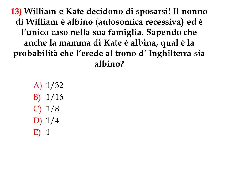 13) William e Kate decidono di sposarsi! Il nonno di William è albino (autosomica recessiva) ed è lunico caso nella sua famiglia. Sapendo che anche la