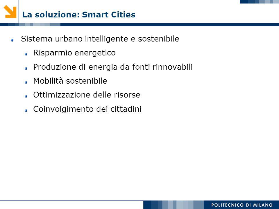 La soluzione: Smart Cities Sistema urbano intelligente e sostenibile Risparmio energetico Produzione di energia da fonti rinnovabili Mobilità sostenib