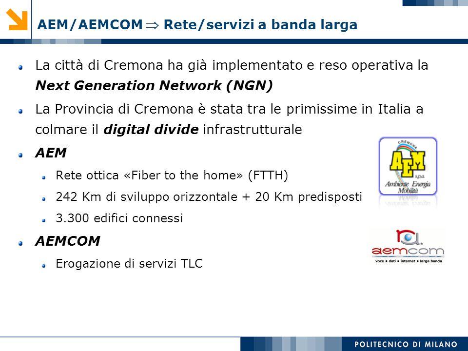 AEM/AEMCOM Rete/servizi a banda larga La città di Cremona ha già implementato e reso operativa la Next Generation Network (NGN) La Provincia di Cremon