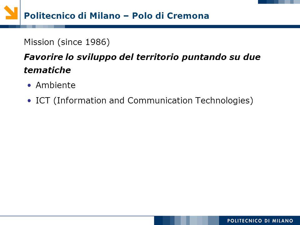 Politecnico di Milano – Polo di Cremona Mission (since 1986) Favorire lo sviluppo del territorio puntando su due tematiche Ambiente ICT (Information a