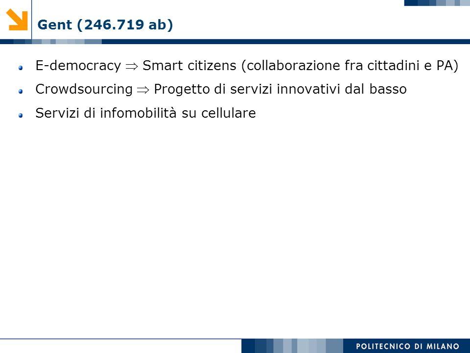 Gent (246.719 ab) E-democracy Smart citizens (collaborazione fra cittadini e PA) Crowdsourcing Progetto di servizi innovativi dal basso Servizi di inf