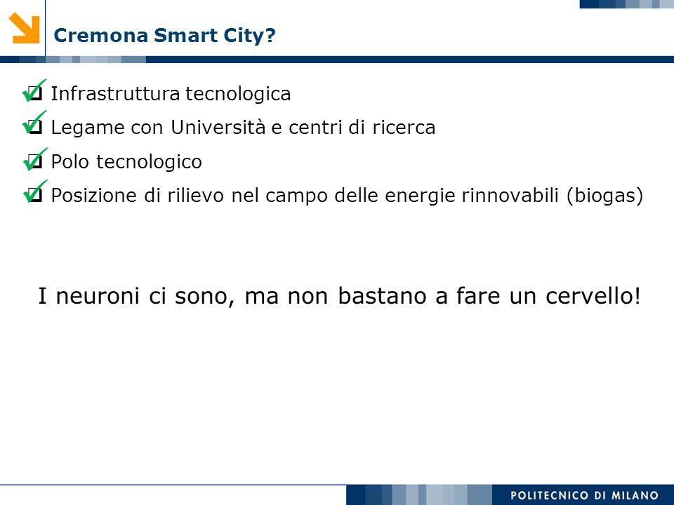 Cremona Smart City? Infrastruttura tecnologica Legame con Università e centri di ricerca Polo tecnologico Posizione di rilievo nel campo delle energie