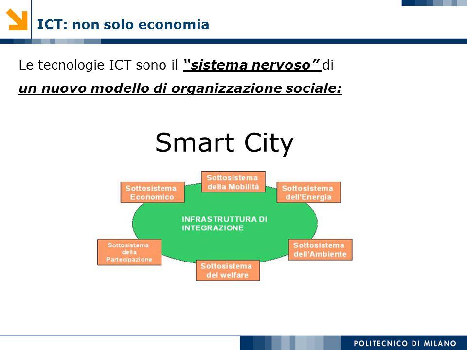 ICT: non solo economia Le tecnologie ICT sono il sistema nervoso di un nuovo modello di organizzazione sociale: Smart City