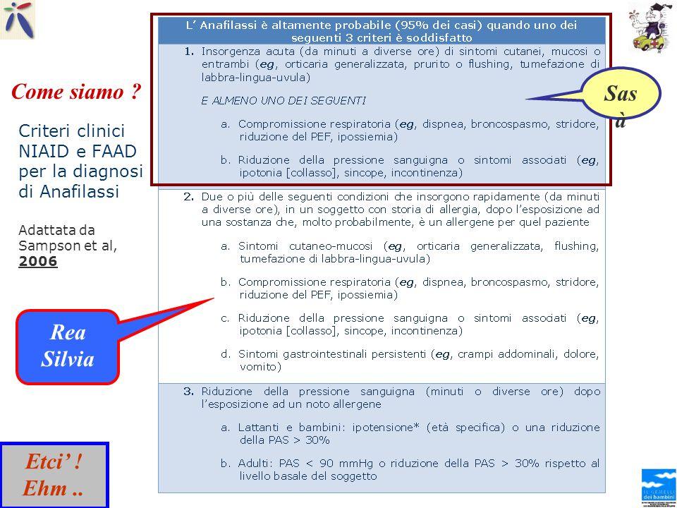 Criteri clinici NIAID e FAAD per la diagnosi di Anafilassi Adattata da Sampson et al, 2006 Sas à Rea Silvia Come siamo ? Etci ! Ehm..