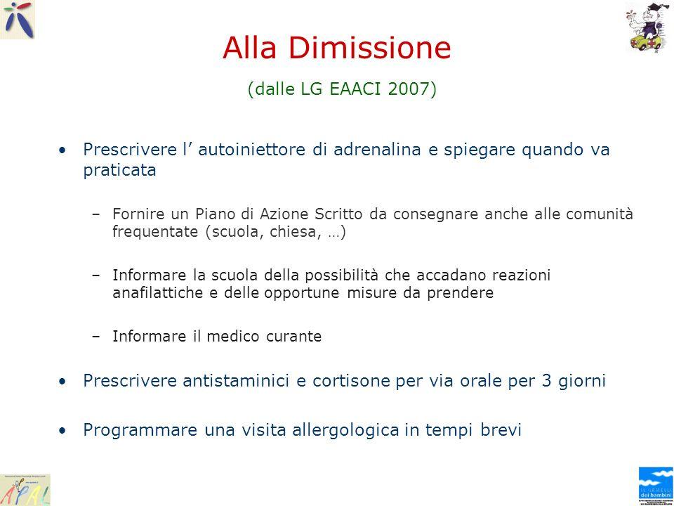 Alla Dimissione (dalle LG EAACI 2007) Prescrivere l autoiniettore di adrenalina e spiegare quando va praticata –Fornire un Piano di Azione Scritto da