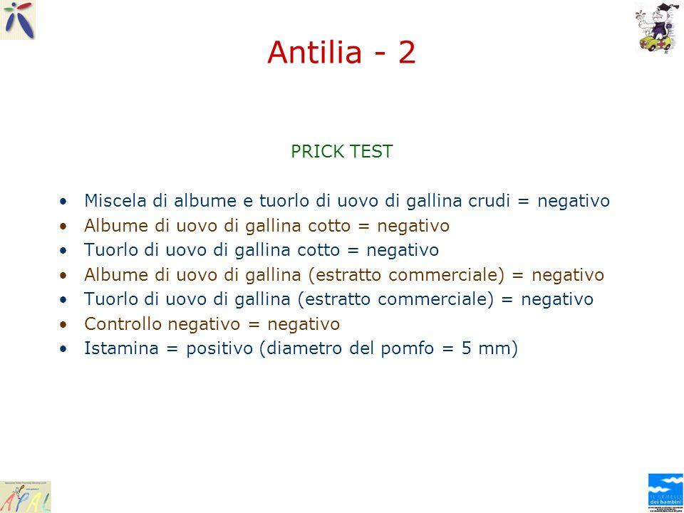 Antilia - 2 PRICK TEST Miscela di albume e tuorlo di uovo di gallina crudi = negativo Albume di uovo di gallina cotto = negativo Tuorlo di uovo di gal