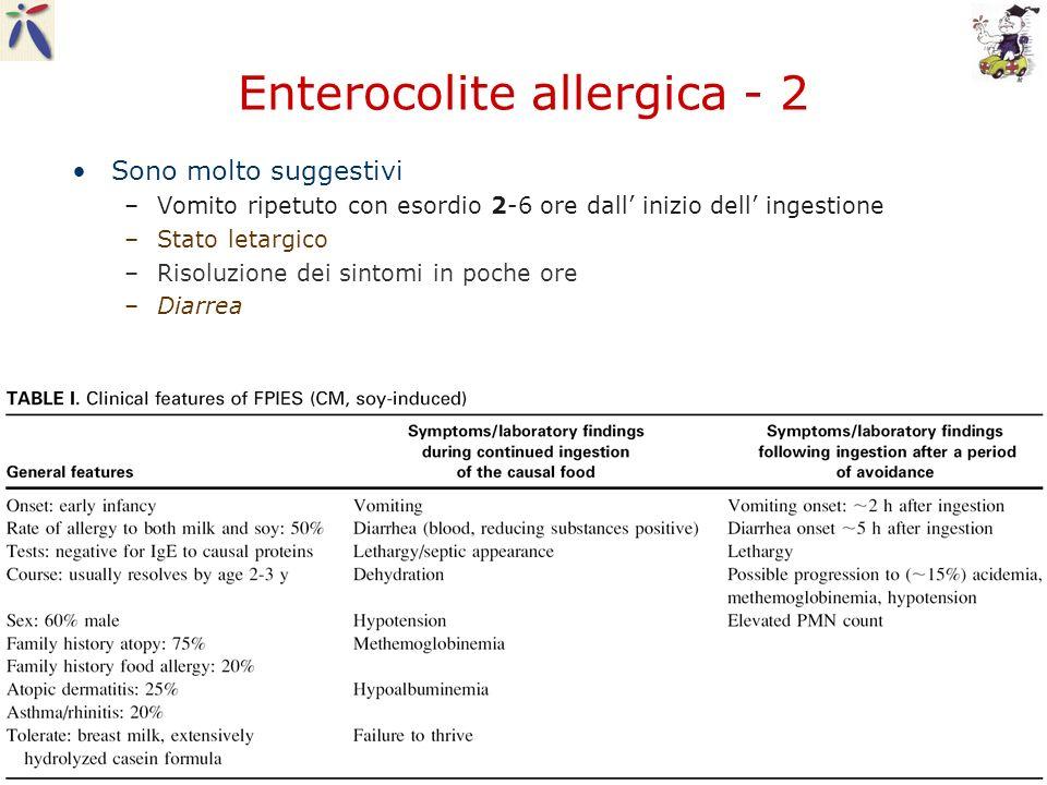 Enterocolite allergica - 2 Sono molto suggestivi –Vomito ripetuto con esordio 2-6 ore dall inizio dell ingestione –Stato letargico –Risoluzione dei si