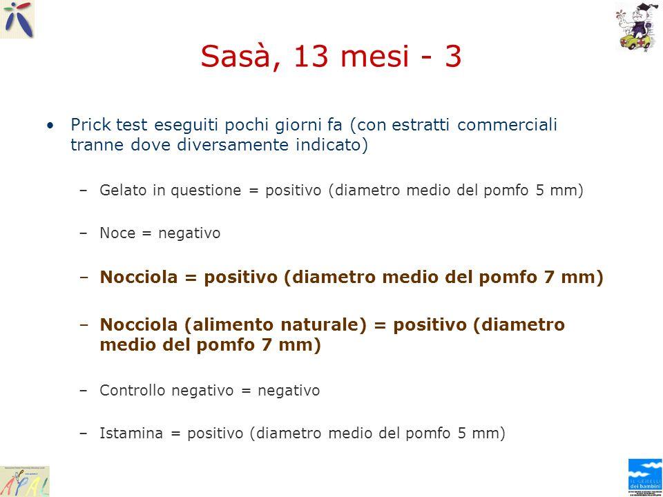Sasà, 13 mesi - 3 Prick test eseguiti pochi giorni fa (con estratti commerciali tranne dove diversamente indicato) –Gelato in questione = positivo (di
