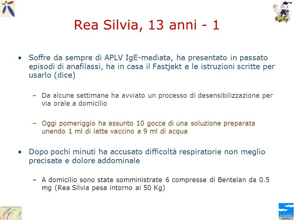 Rea Silvia, 13 anni - 1 Soffre da sempre di APLV IgE-mediata, ha presentato in passato episodi di anafilassi, ha in casa il Fastjekt e le istruzioni s