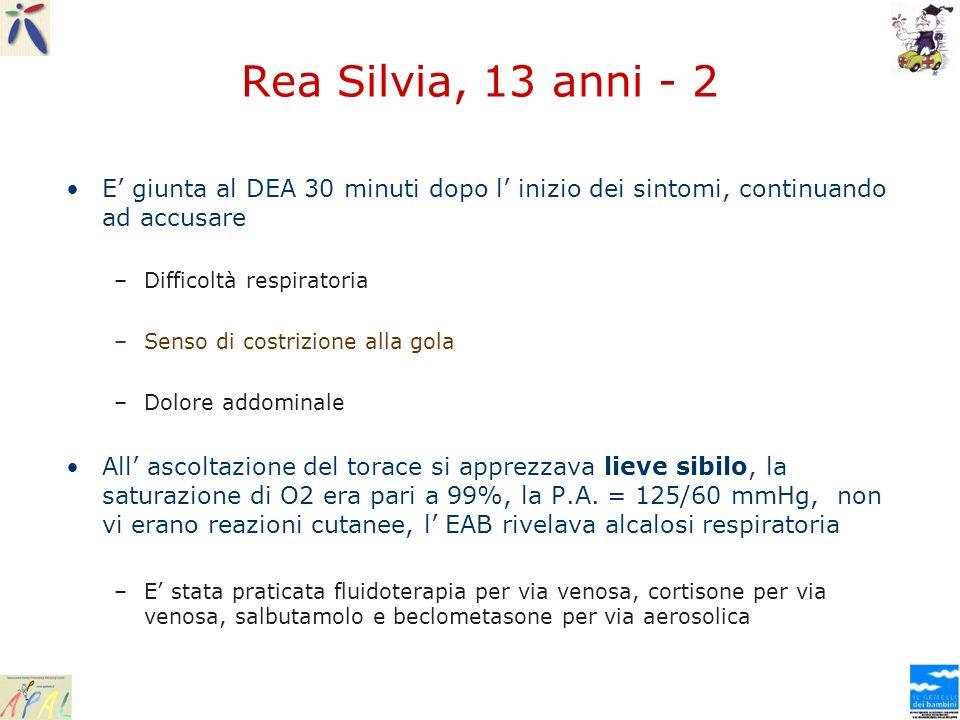 Rea Silvia, 13 anni - 2 E giunta al DEA 30 minuti dopo l inizio dei sintomi, continuando ad accusare –Difficoltà respiratoria –Senso di costrizione al