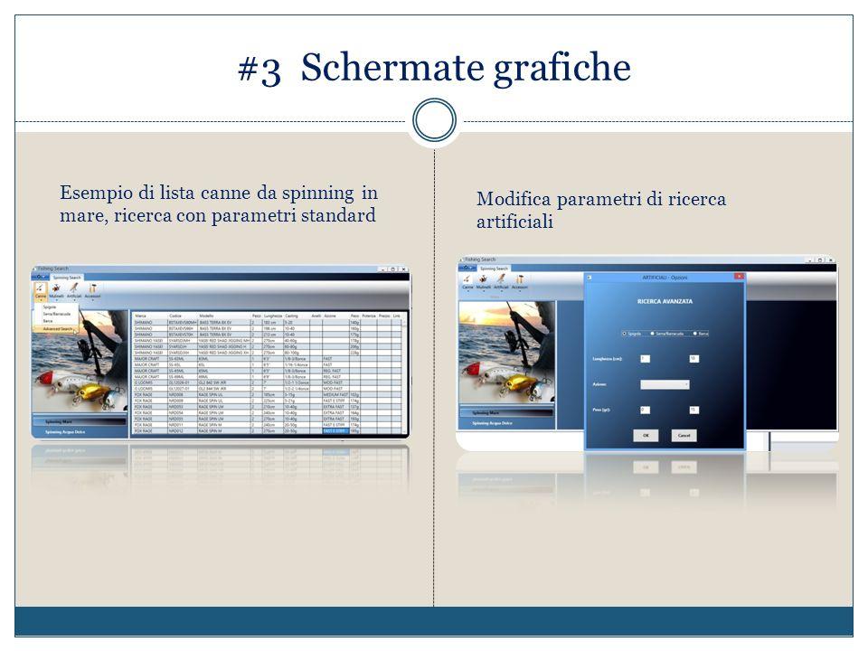 #3 Schermate grafiche Esempio di lista canne da spinning in mare, ricerca con parametri standard Modifica parametri di ricerca artificiali