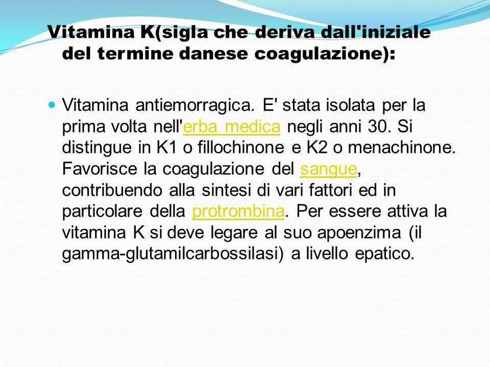 Vitamina K(sigla che deriva dall'iniziale del termine danese coagulazione): Vitamina antiemorragica. E' stata isolata per la prima volta nell'erba med