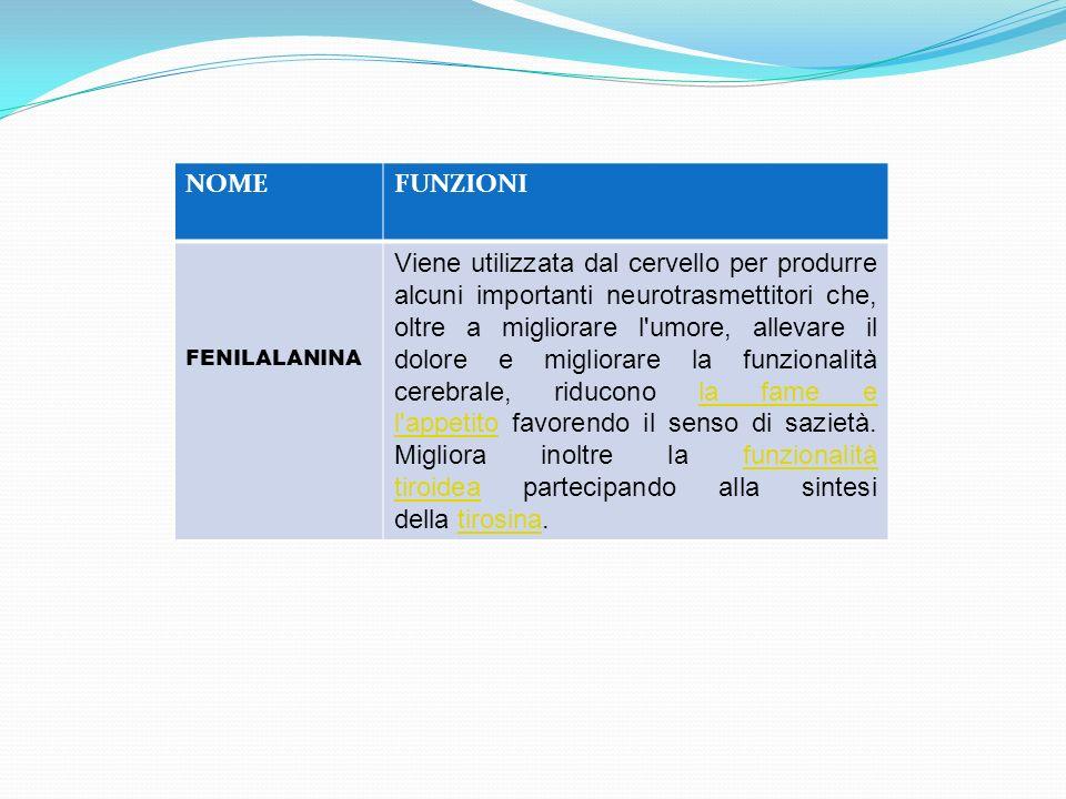 NOMEFUNZIONI FENILALANINA Viene utilizzata dal cervello per produrre alcuni importanti neurotrasmettitori che, oltre a migliorare l'umore, allevare il
