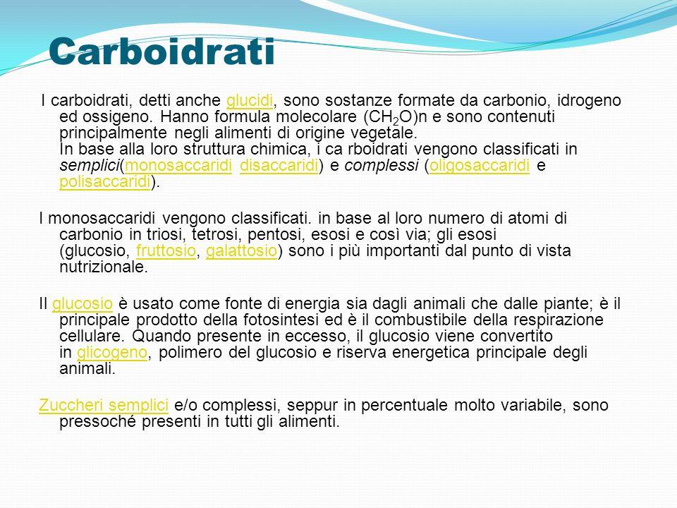 Carboidrati I carboidrati, detti anche glucidi, sono sostanze formate da carbonio, idrogeno ed ossigeno. Hanno formula molecolare (CH 2 O)n e sono con