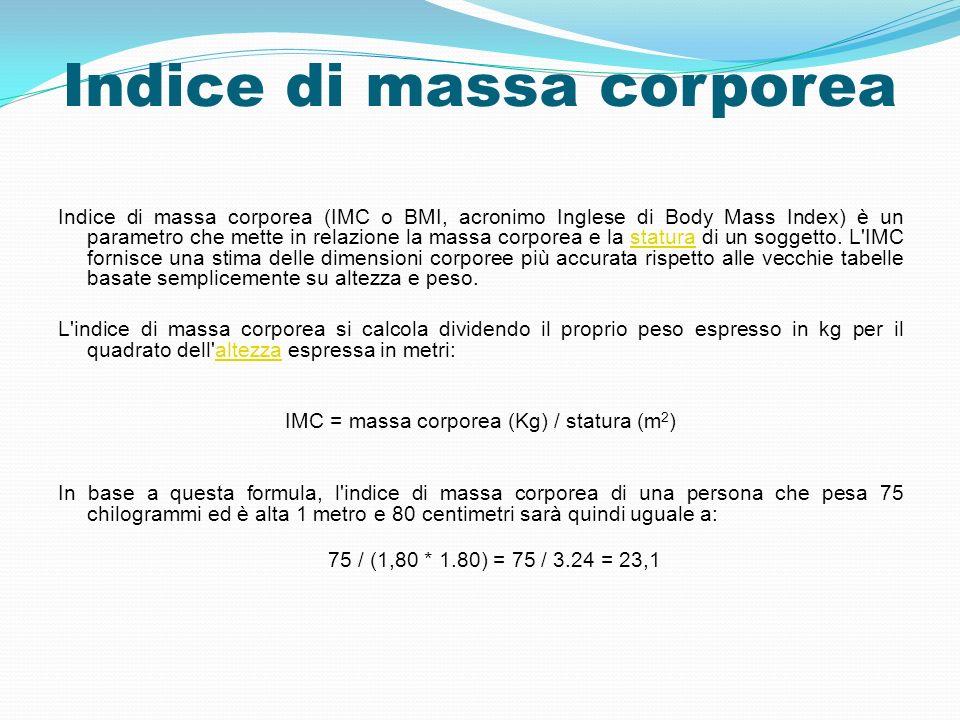 Indice di massa corporea Indice di massa corporea (IMC o BMI, acronimo Inglese di Body Mass Index) è un parametro che mette in relazione la massa corp