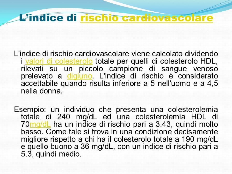 L'indice di rischio cardiovascolarerischio cardiovascolare L'indice di rischio cardiovascolare viene calcolato dividendo i valori di colesterolo total