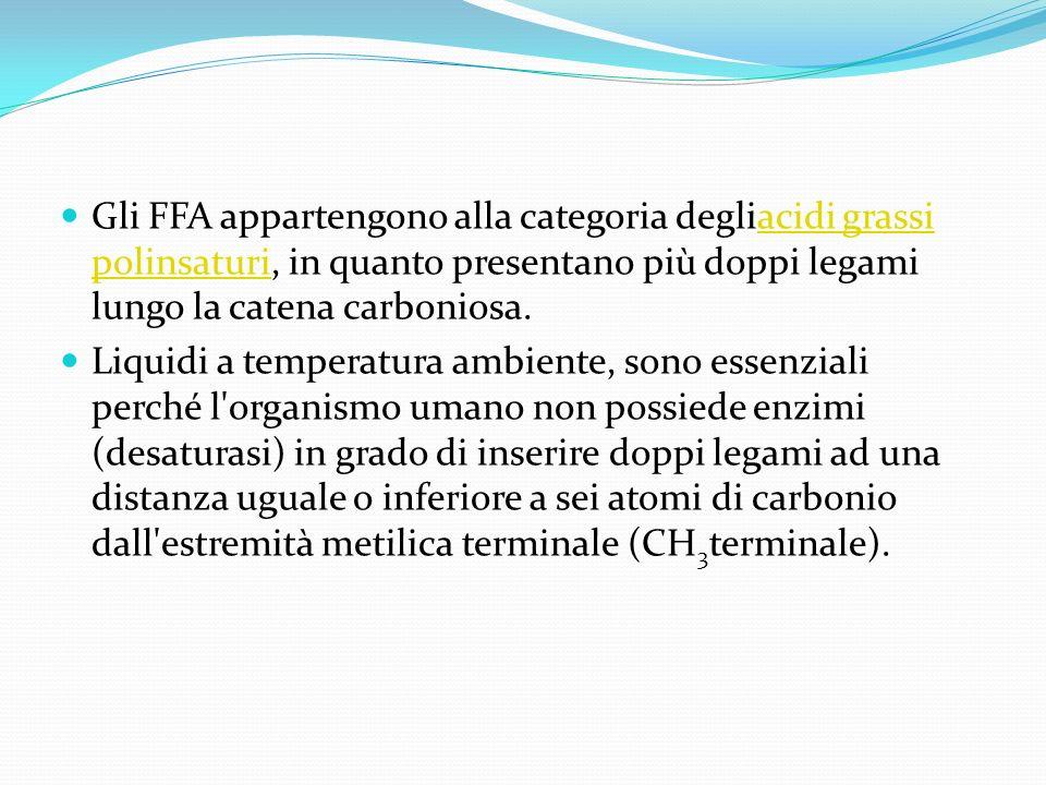 Gli FFA appartengono alla categoria degliacidi grassi polinsaturi, in quanto presentano più doppi legami lungo la catena carboniosa.acidi grassi polin