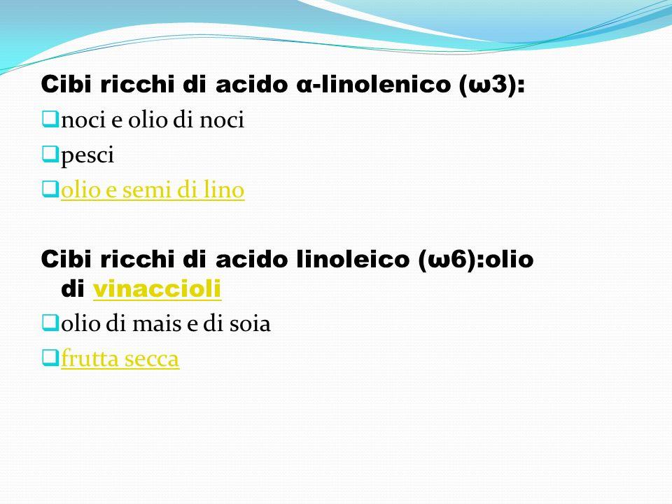 Cibi ricchi di acido α-linolenico (ω3): noci e olio di noci pesci olio e semi di lino Cibi ricchi di acido linoleico (ω6):olio di vinacciolivinaccioli