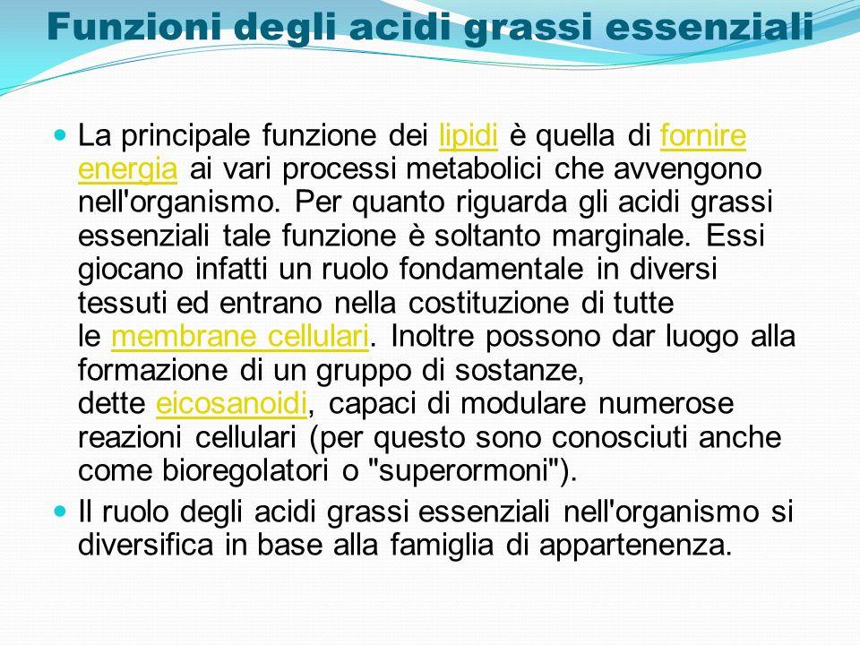 Funzioni degli acidi grassi essenziali La principale funzione dei lipidi è quella di fornire energia ai vari processi metabolici che avvengono nell'or