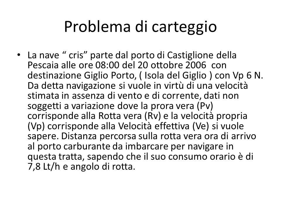 Problema di carteggio La nave cris parte dal porto di Castiglione della Pescaia alle ore 08:00 del 20 ottobre 2006 con destinazione Giglio Porto, ( Is