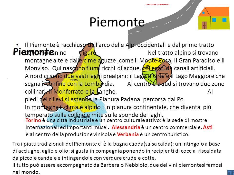 Piemonte Il Piemonte è racchiuso dallarco delle Alpi occidentali e dal primo tratto dell Appennino ligure. Nel tratto alpino si trovano montagne alte